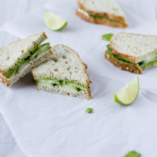 Cucumber-Cream Cheese Summer Sandwiches with Coriander-Coconut Pesto