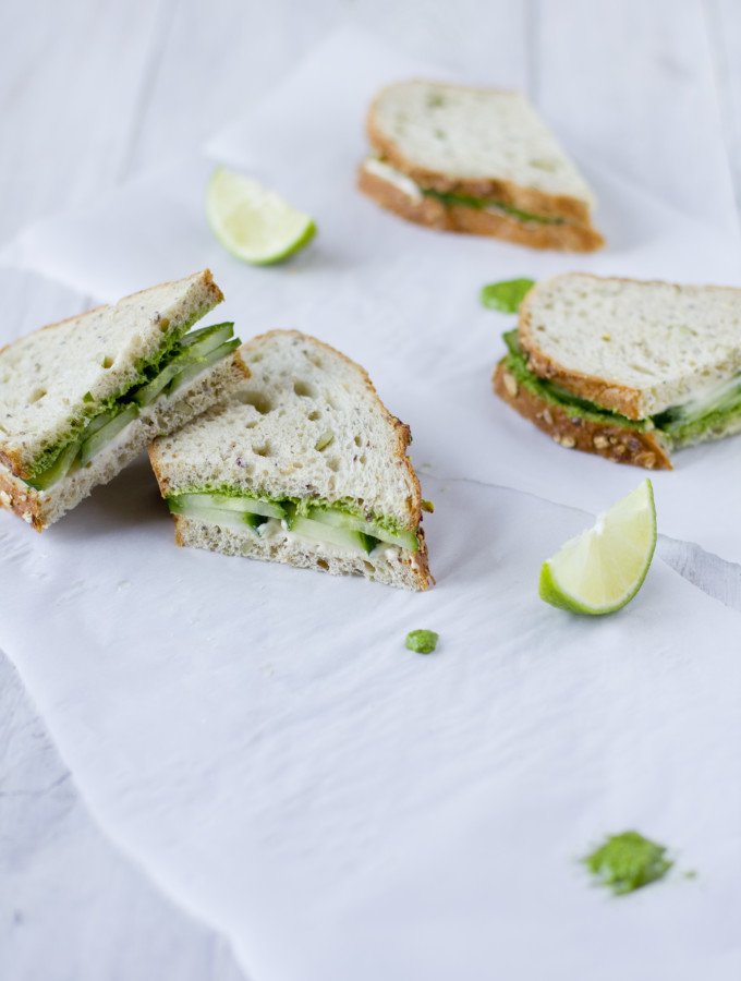 Cucumber Cream Cheese Summer Sandwiches with Coriander-Coconut Pesto