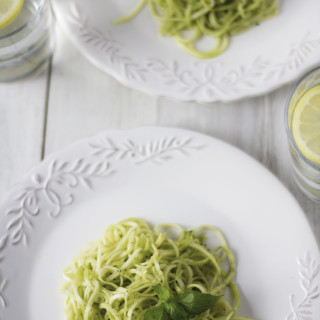 Zucchini Noodles with Avocado Herb Pesto